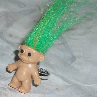 Troll Ring 70's Hair Retro Cute