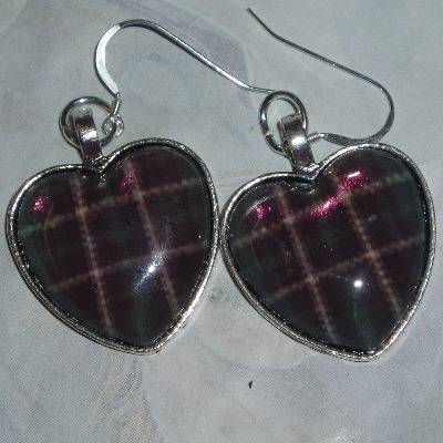 Tartan Heart Earrings Plaid Scottish Clan Bridesmaid Sterling