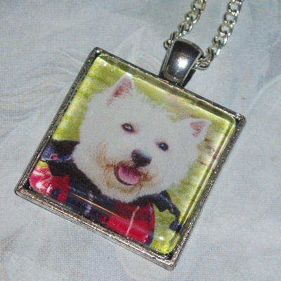 Westie Dog Necklace Pendant Square Scottish