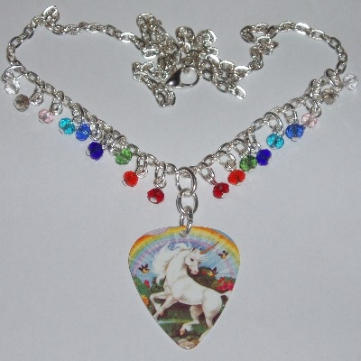 Rainbow Unicorn Guitar Pick Necklace Plectrum Crystals