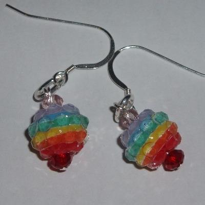 Rainbow Earrings Resin Crystal Colourful Sterling