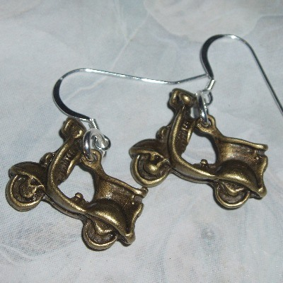 Scooter Earrings Brass Sterling Mod Funky