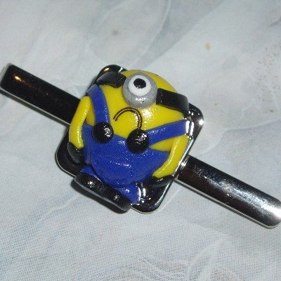 minion tie clip square silver plated base with a