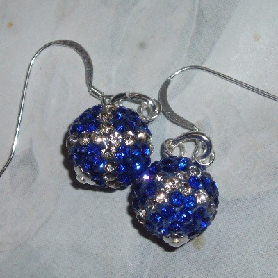 Saltire Crystal Ball Earrings Sterling