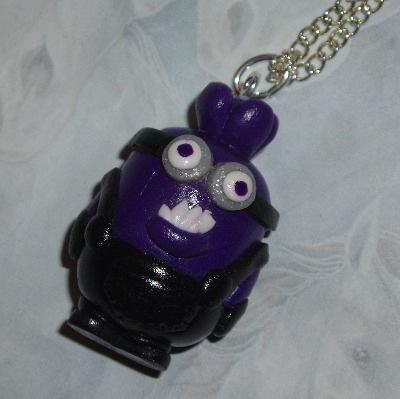 Minion Pendant Necklace Large Evil Two Eyes Handmade Fimo Gru