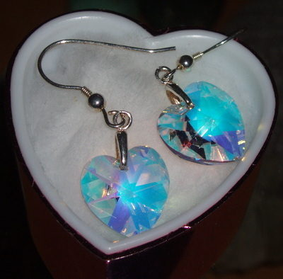 Heart Earrings Swarovski Crystal 14mm Sterling Bride Bridesmaid Prom