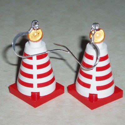 Lego Red White Traffic Cone Earrings Wellington Glasgow