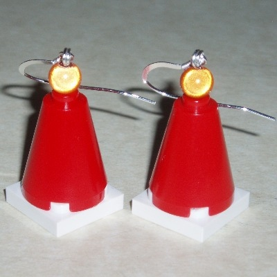 Lego Red Traffic Cone Earrings Wellington Glasgow