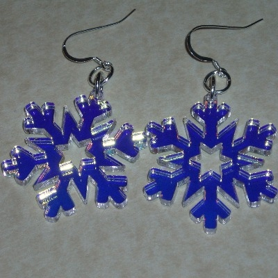 Snowflake Earrings Iridescent Acrylic Christmas Sterling