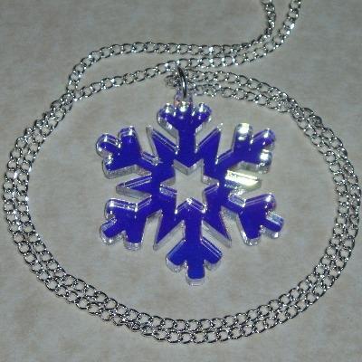 Snowflake Necklace Pendant Christmas Iridescent Acrylic