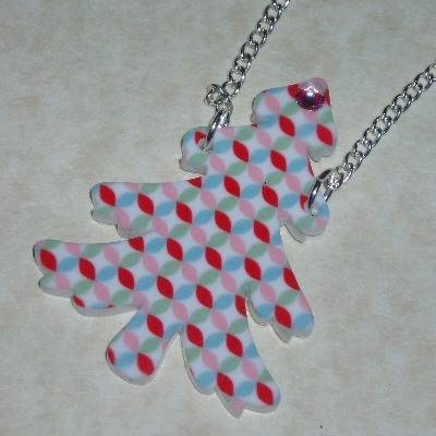 Christmas Tree Pendant Necklace Red Blue Pink Green Acrylic