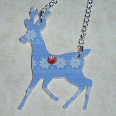 Rudolph Pendant Necklace Blue Snowflake Christmas Acrylic