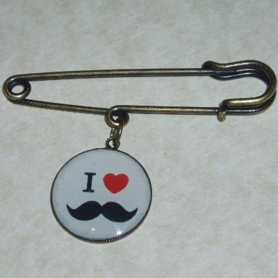 Moustache Kilt Pin I Heart Movember Donation