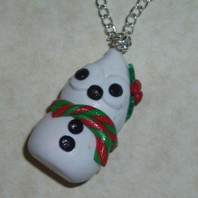 Zingy Snowman Blob Pendant Necklace White Fimo Christmas