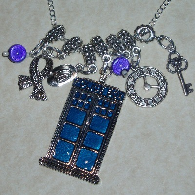Dr Who Tardis Pendant Necklace Scarf Hat Clock Key