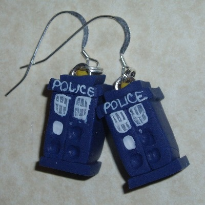 Dr Who Earrings Tardis Blue Fimo Police Box Sterling