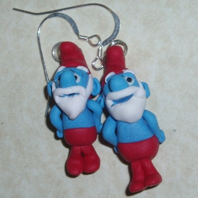 Papa Smurf Earrings Handmade Fimo Sterling