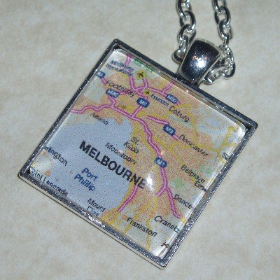 Map Necklace Pendant Glass Cabochon Square