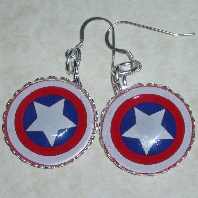 Captain America Glass Cabochon Earrings Round Star Sterling