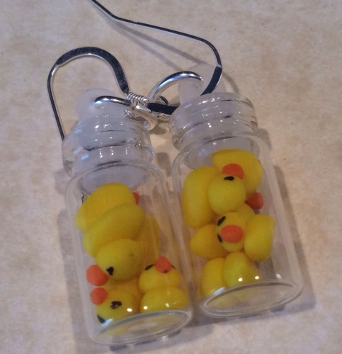 Ducks In A Bottle Earrings Handmade Fimo Sweetie Jar