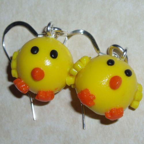 Chicks Earrings Handmade Fimo Sterling easter