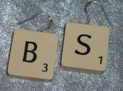 Scrabble Earrings Sterling Drop All Letters Tiles J's K's Available