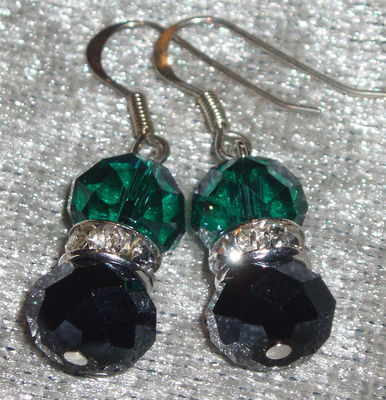 Faceted Crystal Bead and Crystal Spacer Drop Earrings