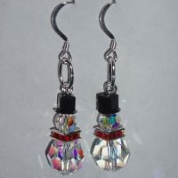 Christmas Snowman Earrings Swarovski Crystal Sterling Silver