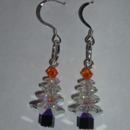 Christmas Tree Earrings Swarovski Crystal Sterling Sparkly