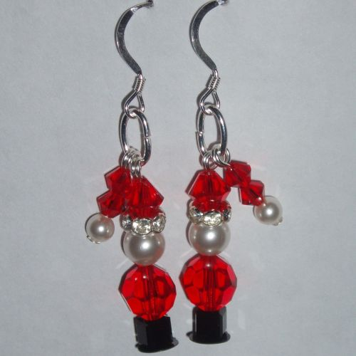 Christmas Santa Earrings Swarovski Crystal Sterling Sparkly