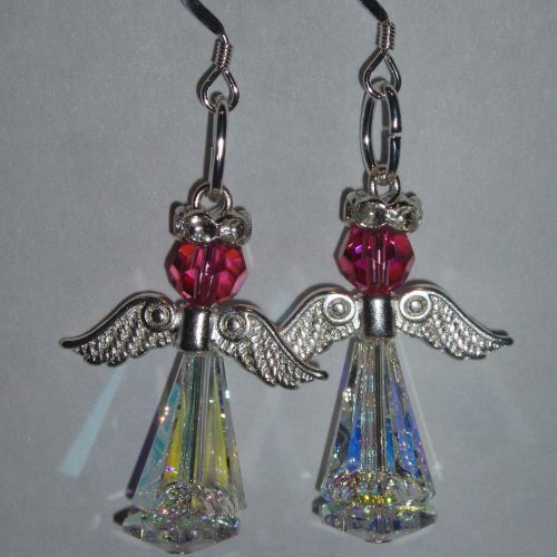 Christmas Angel Earrings Delux Swarovski Crystal Handmade Birthday