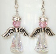 Angel Earrings Swarovski Crystal Handmade Birthday Christmas