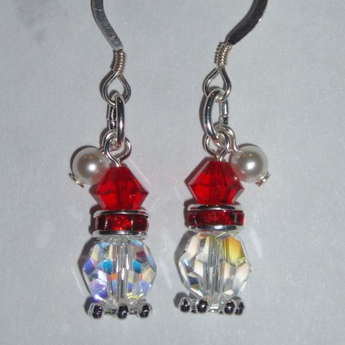 Christmas Santa Hat Earrings Swarovski Crystal Sterling Sparkly