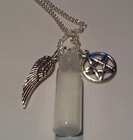 Supernatural Protection Pendant Angel Wing Pentagram Salt