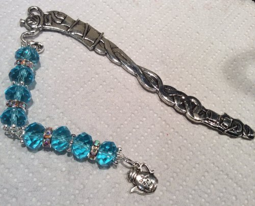 Teapot Bookmark Charm Crystal Beads