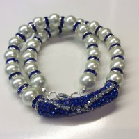 Saltire Pearl Crystal Spacer Necklace
