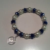 Scottish Thistle Bracelet Pearl Crystal Charm Stretch