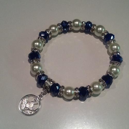 Scottish Thistle Bracelet Pearl Crystal Charm Stretch