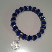 Scottish Thistle Bracelet Blue Crystal Charm Stretch