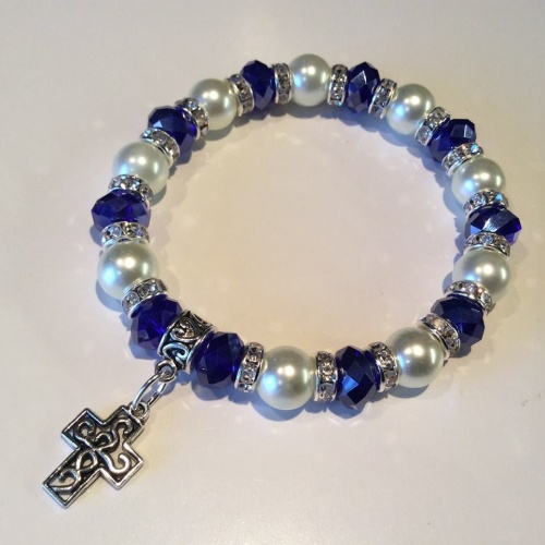 Celtic Cross Bracelet Pearl Crystal Charm Stretch