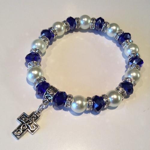Celtic Cross Bracelet Pearl Crystal Charm Stretch