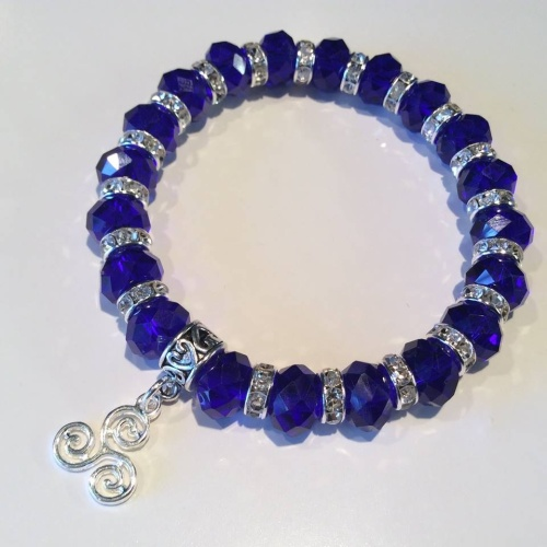 Celtic Triskelion Bracelet Blue Crystal Charm Stretch