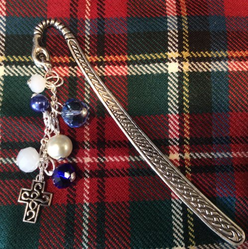 Celtic Cross Bookmark Charm Crystal Beads Book Readers Scottish