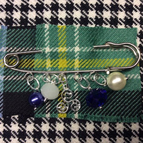 Celtic Triskelion Kilt Pin Charm Pearl Crystal Beads Scottish