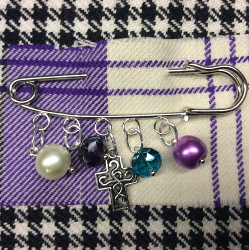 Celtic Cross Kilt Pin Charm Pearl Crystal Beads Scottish