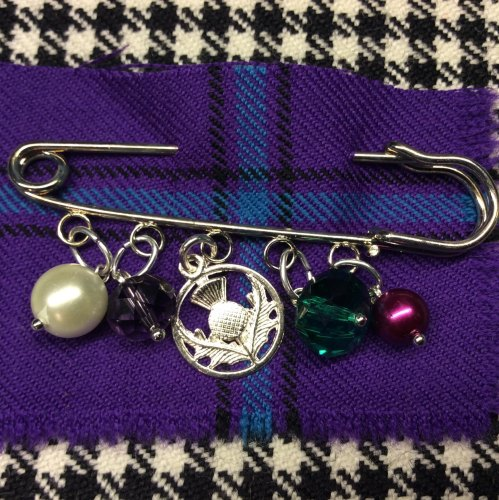 Scottish Thistle Kilt Pin Charm Pearl Crystal Beads Scottish