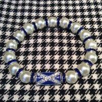 Saltire Pearl Crystal Spacer Bracelet