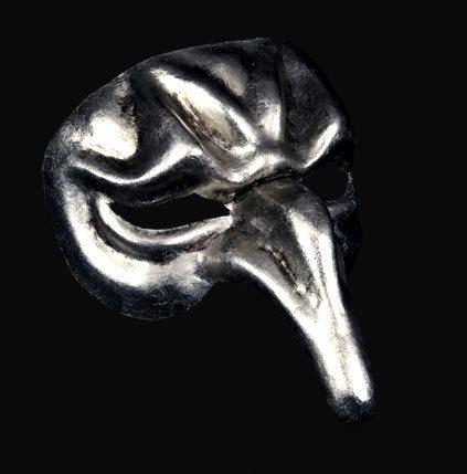 Pulcinella Full Face Masquerade Mask - Silver Edition
