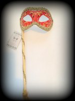 Venetian Masquerade Mask On A Stick - Decor Era Gold Red