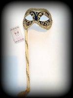 Venetian Masquerade Mask On A Stick - Decor Era Gold Black